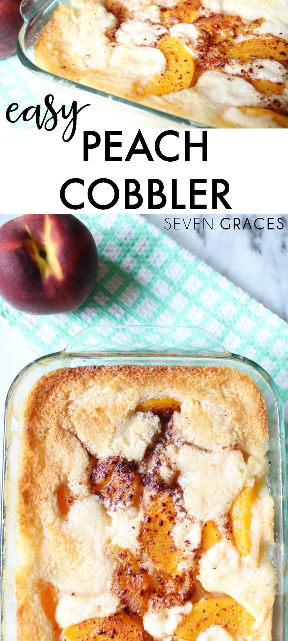 The easiest and most delicious peach cobbler recipe you'll ever need. A nice crunch on the top with a gooey filling on the inside. Delicious!