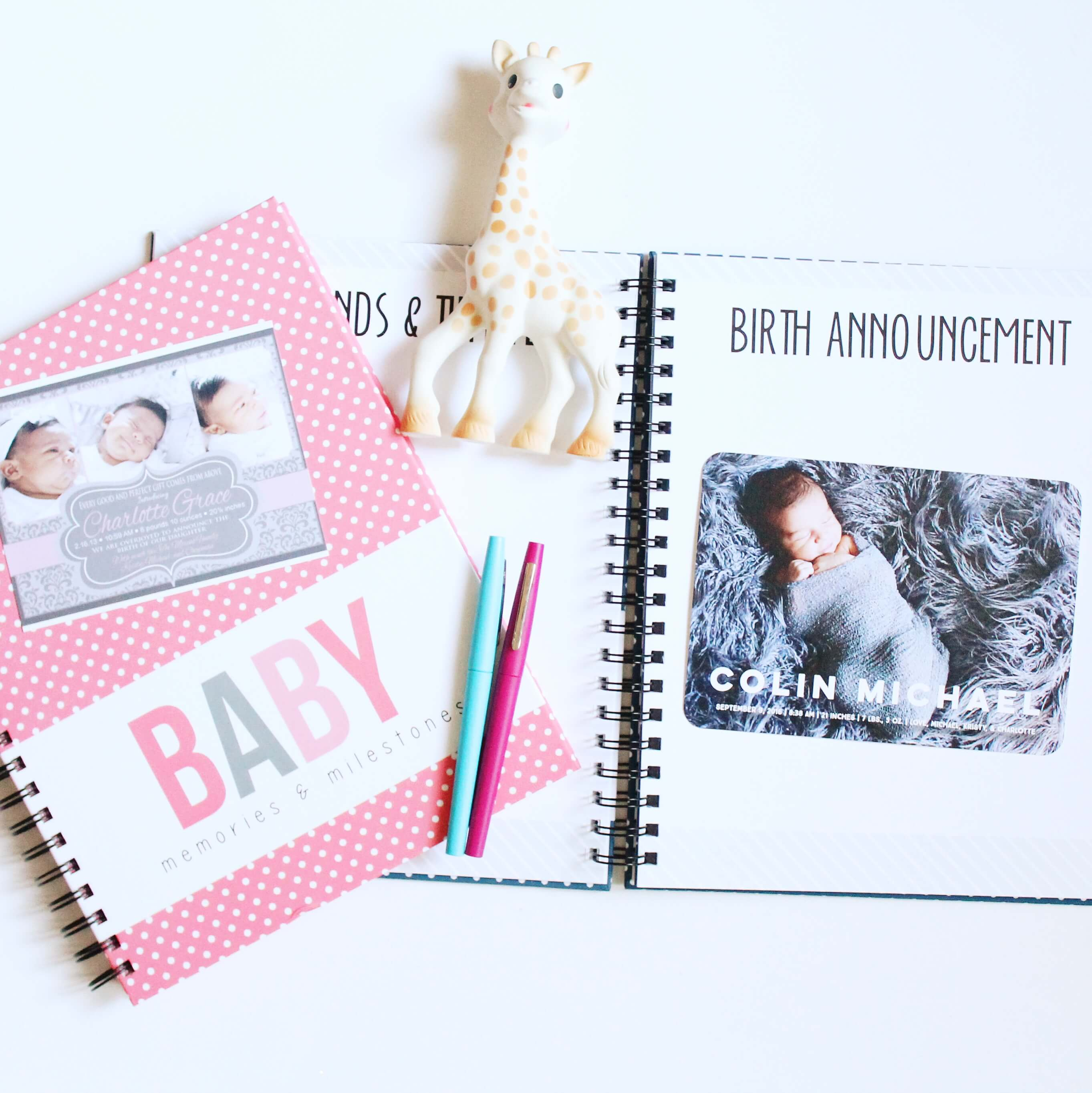 Easy to fill in baby book by Polka Dot Print Shop.