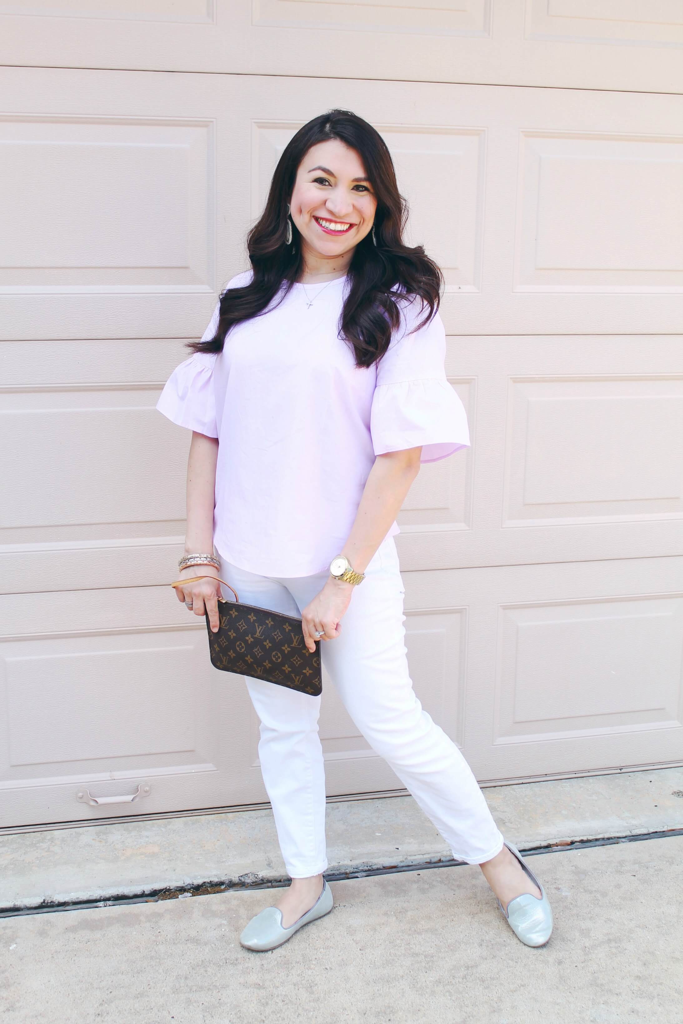 Bell Sleeve Blouse for a Casual Date Night. This is the perfect spring outfit to add to your wardrobe. Don't miss the rest of the series Moms Do Spring Style.