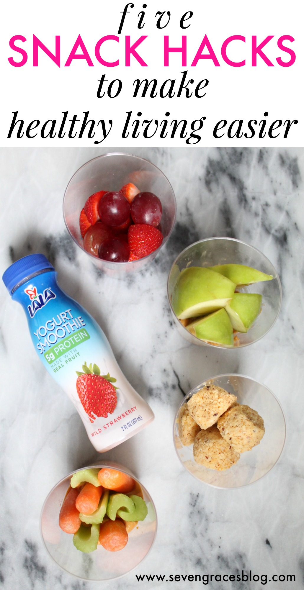 5 snack hacks to make healthy living easier: How to make Lala Yogurt Smoothies, fresh fruits, veggies, and more part of your smart snacking plan. #lalachallenge #ad