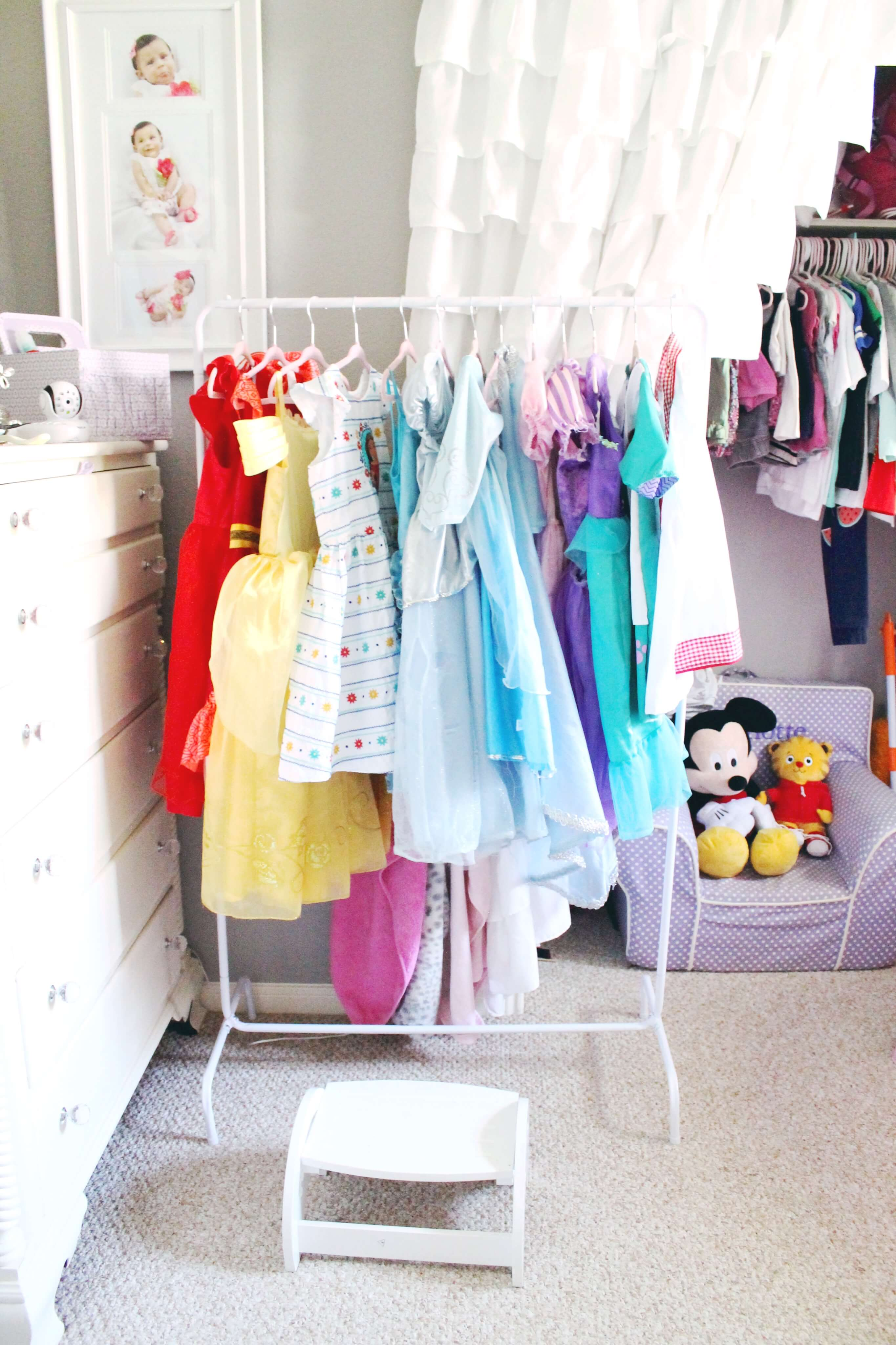 The cutest dressup garment rack. This perfectly organizes all of your little girl's princess dresses and dressup clothes.