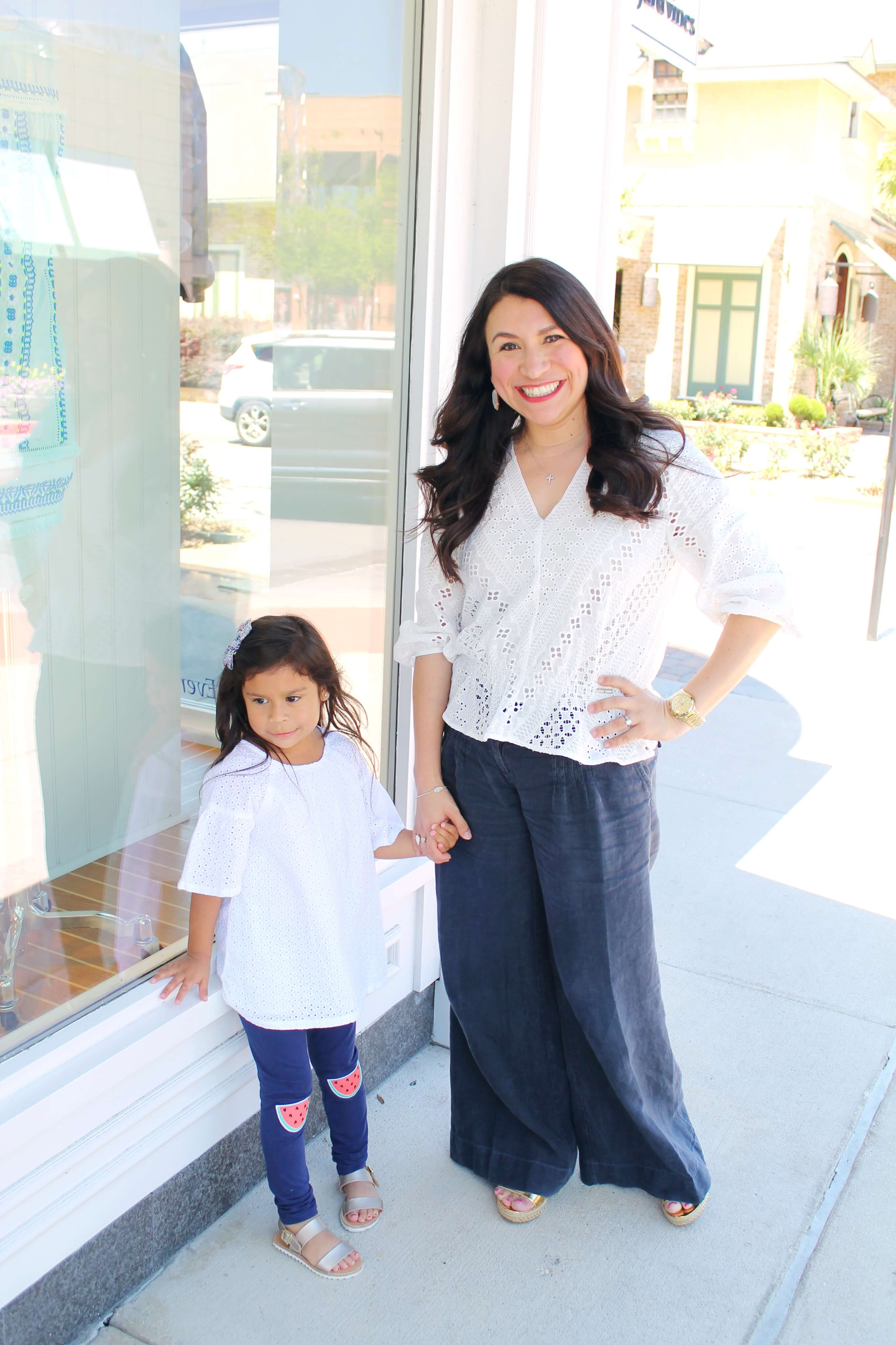 Mama & Mini fashion. Eyelet tops and navy pants for spring.