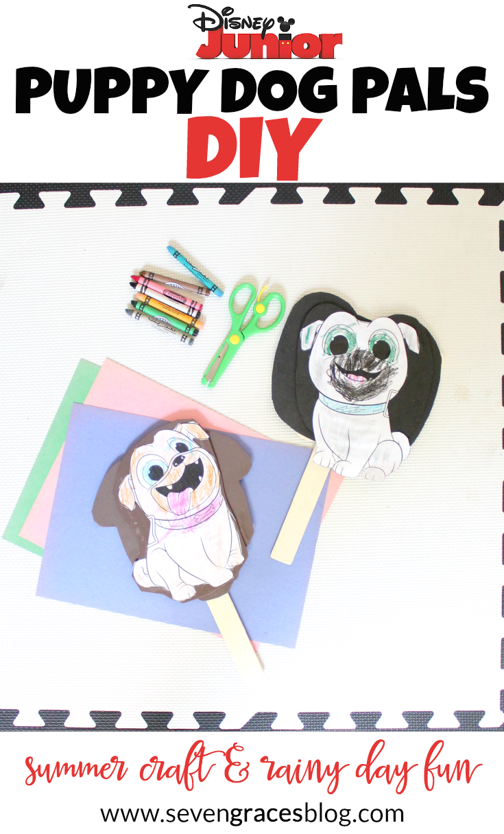 AD] The perfect summertime DIY and summer craft for rainy day fun or indoor rest time. Make Rolly & Bingo come to life from the new Disney Junior Puppy Dog Pals.