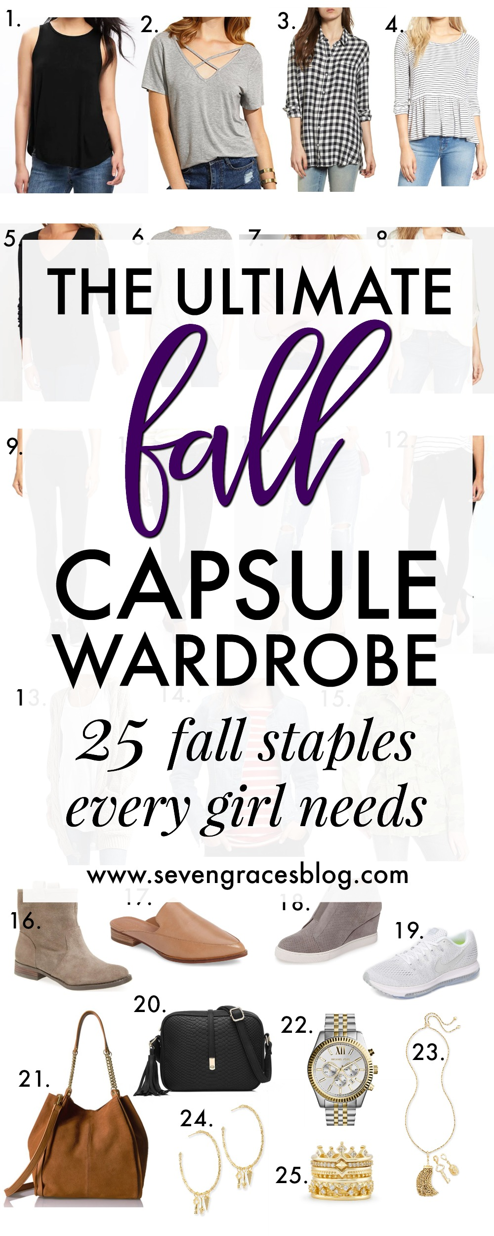 The ultimate fall capsule wardrobe for the busy mom who wants to stay stylish but comfy. Endless outfit combos with only 25 pieces! #capsulewardrobe #momcapsulewardrobe #fallcapsulewardrobe
