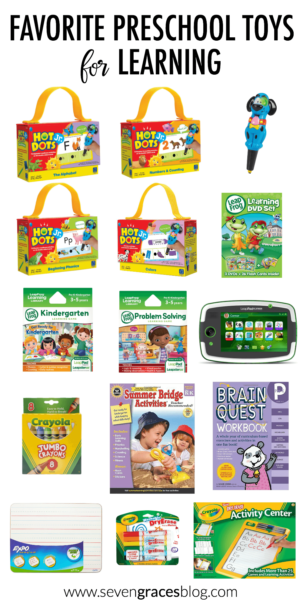 The best roundup of preschool toys for learning! These activities are great enrichment tools for preschoolers. Great for summertime activities or throughout the school year.