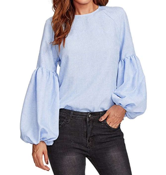 fe6c36f518f88 Lantern Sleeve Long Sleeve Blouse  19.99 Amazon Prime    Y all. These  sleeves. This blouse looks like it would cost 50 plus dollars