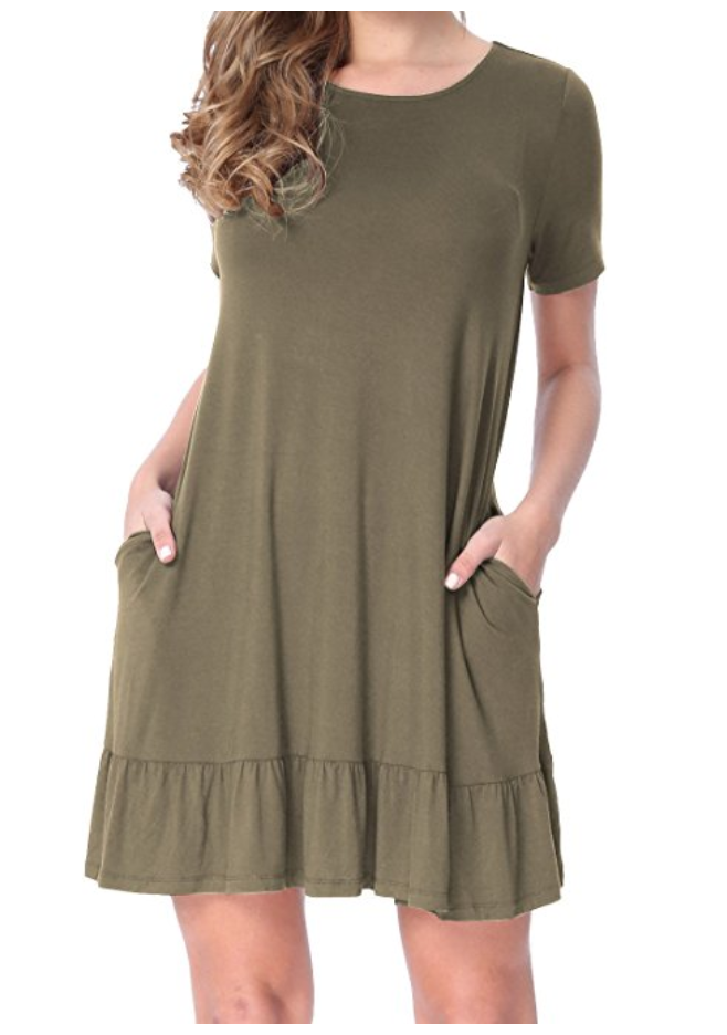 3e6b7524a603 Short Sleeve Ruffle Trim Dress with Pockets  12.99 Amazon Prime    I sized  up on this and got a large