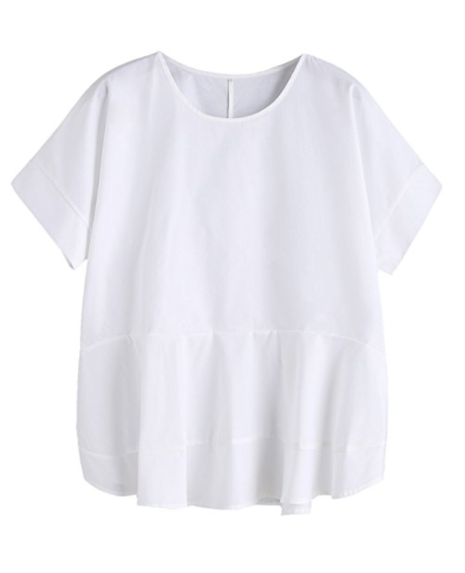 2c3a02a7db1 White Peplum Top  11.99 Amazon Prime    Such a flattering top on anyone! It  comes in one size